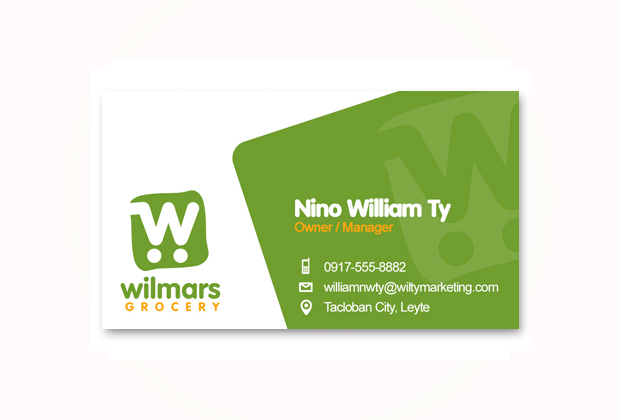 Business card design sonnydesign business card wilmars grocery tacloban reheart Choice Image